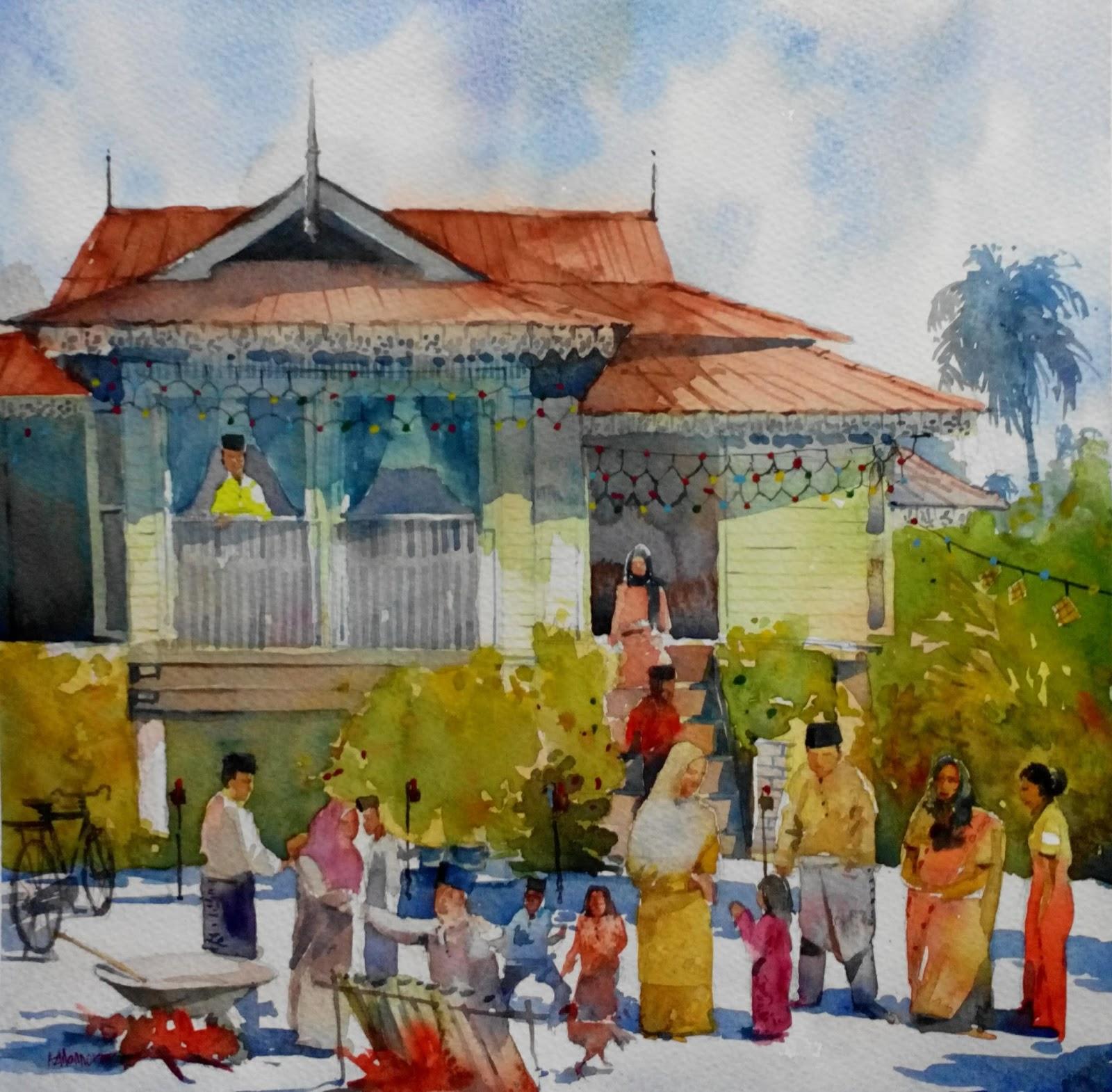 Lukisan Rumah Kampung Raya Cikimm Com